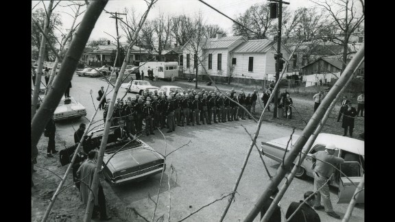 """State police form a barricade as they wait for marchers on """"Bloody Sunday."""""""
