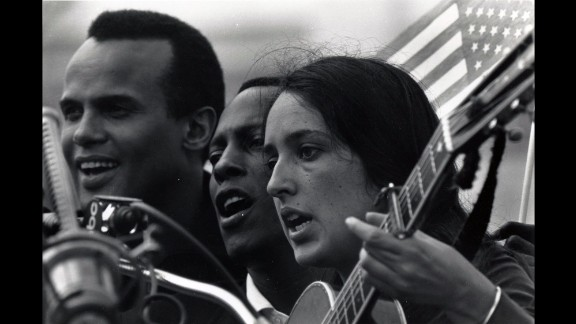 Belafonte, left, and Joan Baez entertained activists with music before the march.