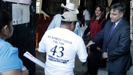 Relatives of 43 missing students arrive to a private meeting with members of the Human Rights Inter-American Commission after a press conference about the 43 missing students at the Rural school of Ayotzinapa, in Tixtla community, Guerrero State, Mexico on March 2, 2015. 43 missing students disappeared on September 26th, when police attacked busloads of college students in Iguala, allegedly under the orders of its mayor, and handed them over to a gang.