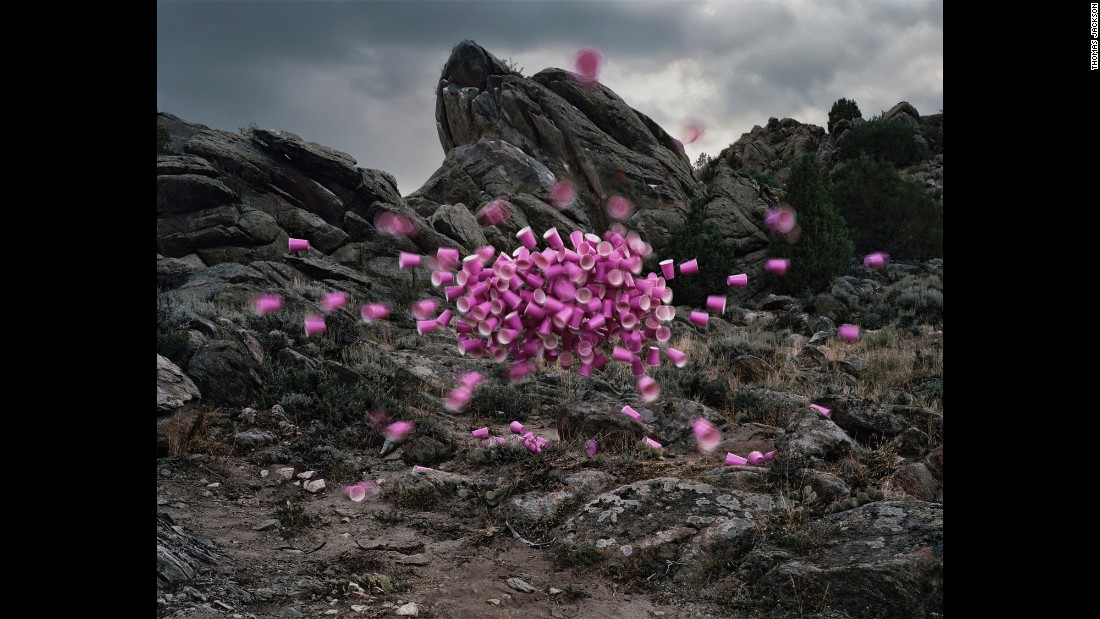 "For his ""Emergent Behavior"" series, photographer Thomas Jackson staged inanimate objects -- such as the Solo cups here -- to look like swarms you would find in nature."