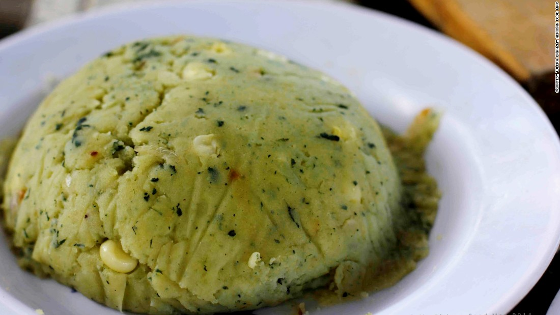 Irio is a Gikuyu side dish made of potatoes, corn and mashed peas.