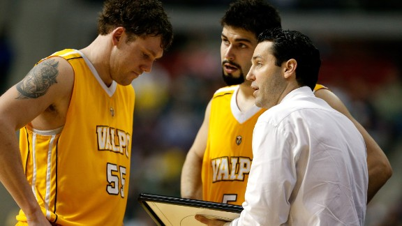 As a coach, Bryce Drew (drawing up a play for Kevin Van Wijk #55 and Bobby Capobianco #5) has led Valparaiso to its record number of wins in just his fourth season in charge.