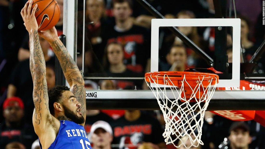"Willie Cauley-Stein of the Kentucky Wildcats dunks against the Georgia Bulldogs at Stegeman Coliseum on March 3, 2015 in Athens, Georgia. Kentucky is favorite to win the NCAA Tournament -- known as ""March Madness."""