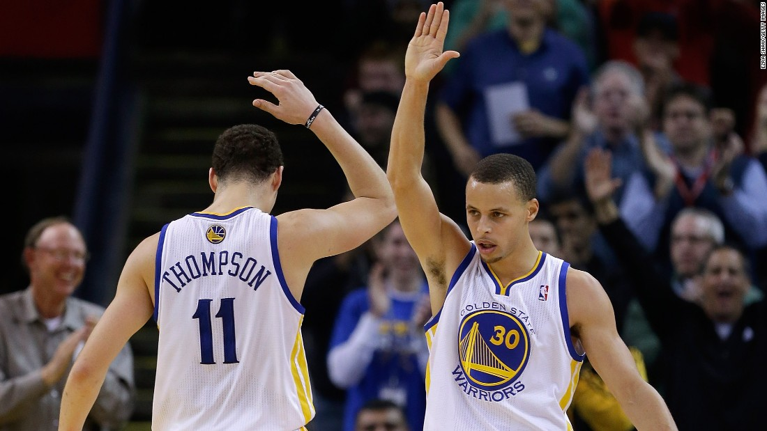 The Warriors backcourt tag-team of Stephen Curry (right) and Klay Thompson combined for more three-pointers (602) in the 2016 regular season than any other <em>team</em> in NBA history.