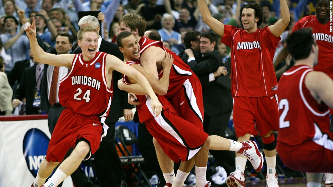 NBA Most Valuable Player candidate Stephen Curry (center) shined during the 2008 NCAA Men's Basketball Tournament. Here he celebrates a second-round win over Georgetown with his Davidson College teammates after a 25-point second-half performance.