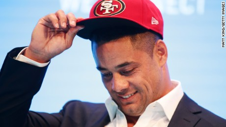 Jarryd Hayne speaks to the media during a press conference at the Telstra Amphitheatre on March 3, 2015 in Sydney, Australia.