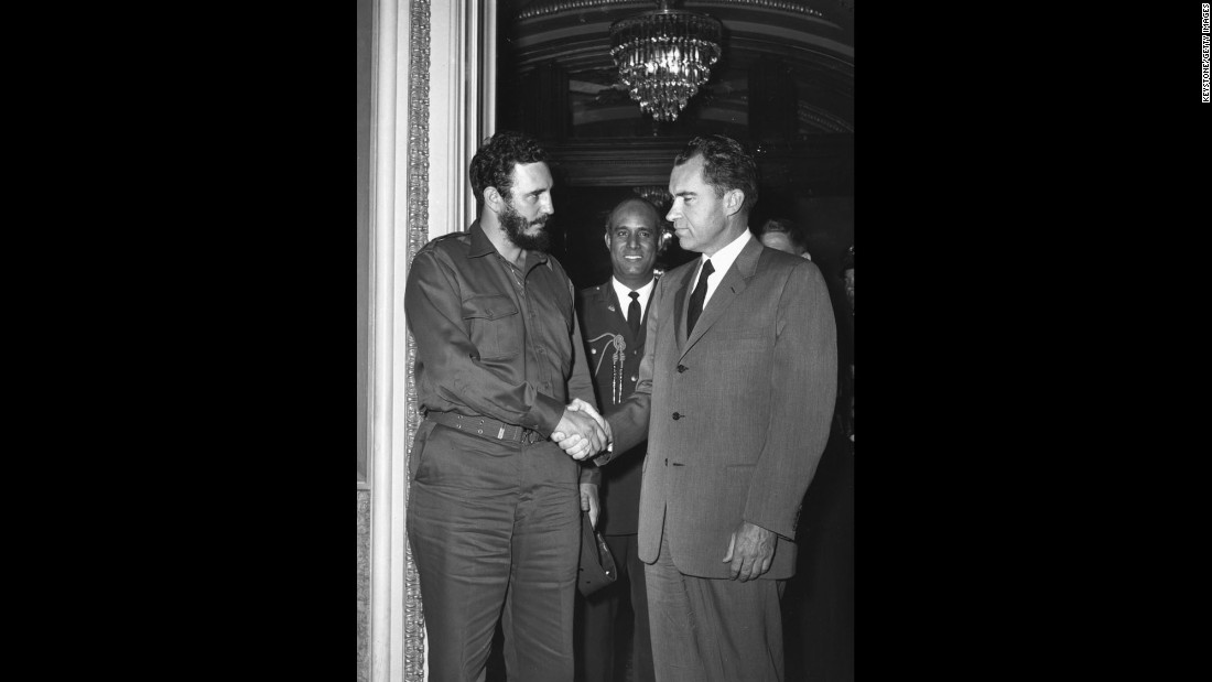 Castro shakes hands with US Vice President Richard Nixon during a reception in Washington in 1959.