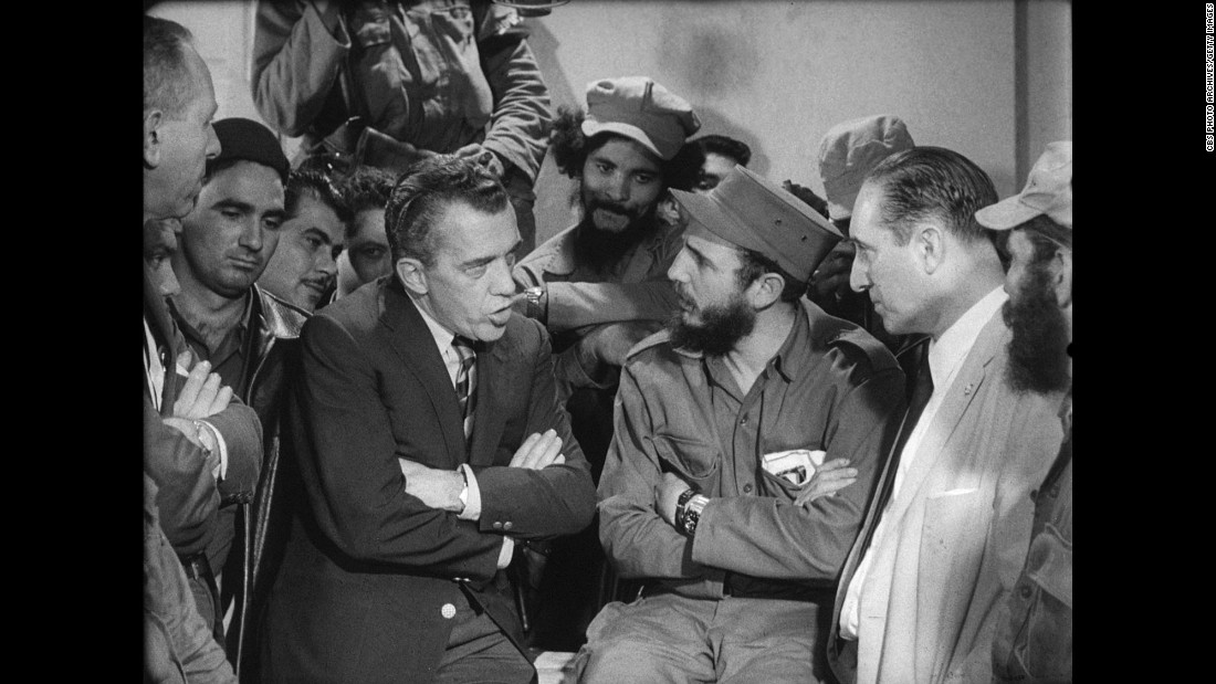 American talk-show host Ed Sullivan interviews Castro on a taped segment in 1959.