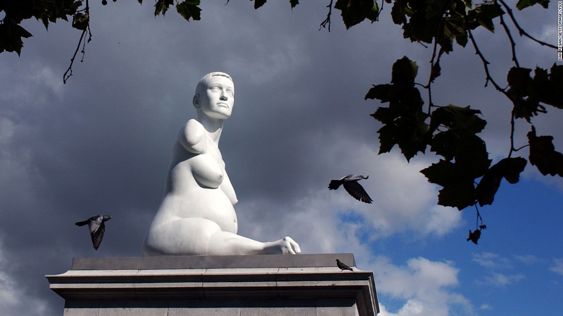 The marble sculpture by British artist Marc Quinn entitled 'Alison Lapper Pregnant' was the first artwork to fill the vacant plinth in the northwest of Trafalgar Square. The statue unveiled in September 2005 is a portrait of disabled artist Alison Lapper, who is portrayed naked and eight months pregnant. The sculpture measured 12 feet high and weighed 13 tons.