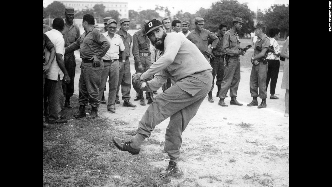 Castro plays baseball in 1964.