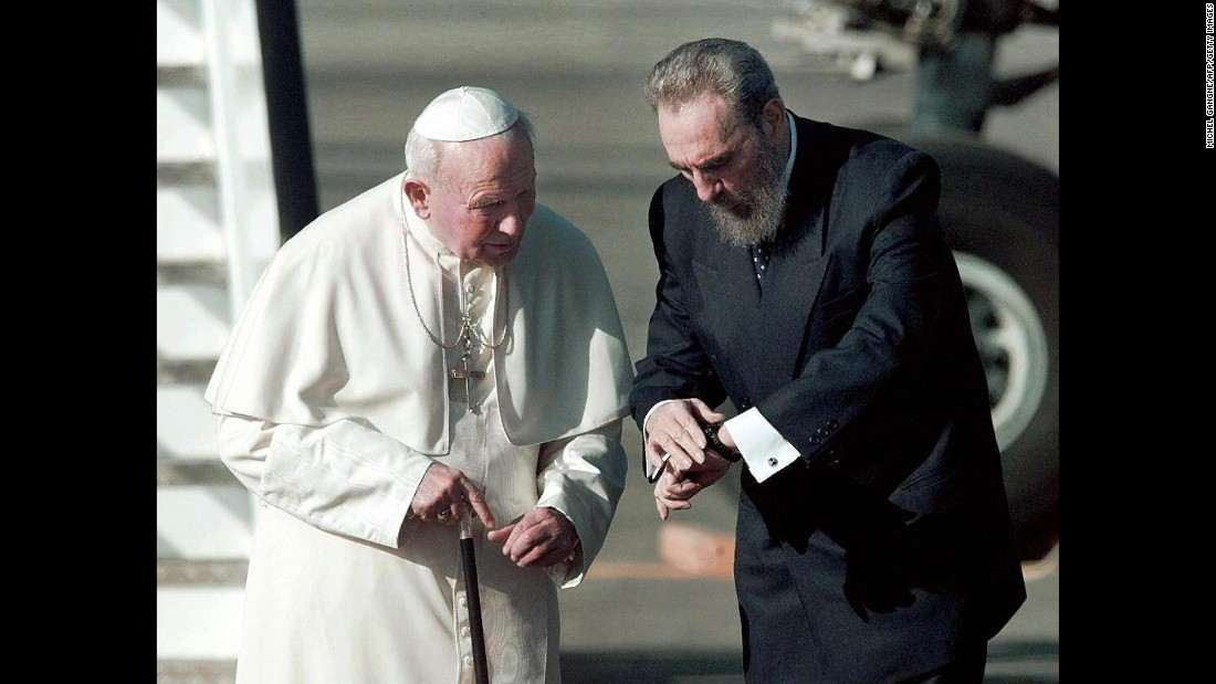 Castro meets with Pope John Paul II on an airport tarmac in Havana in January 1998. It was the first papal visit to Cuba.