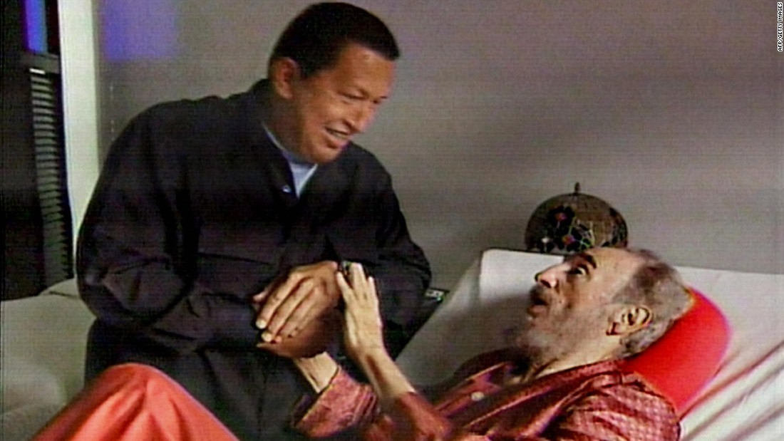 In footage from state-owned Cuban television, Venezuelan President Hugo Chavez visits an ailing Castro in September 2006. That July, it was announced that Castro was undergoing intestinal surgery. Castro resigned as President in February 2008, and his brother Raul took over permanently.