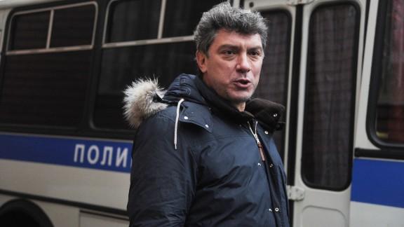 Russian opposition leader Boris Nemtsov attends a rally near Tverskoi court in Moscow on December 27, 2011.