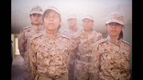 Women in the Peshmerga, the national military force for the Kurdistan Regional Government in northern Iraq, undergo drill instruction on their base in Sulaymaniyah.