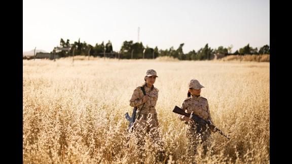Women in the Peshmerga train at the base in Sulaymaniyah.