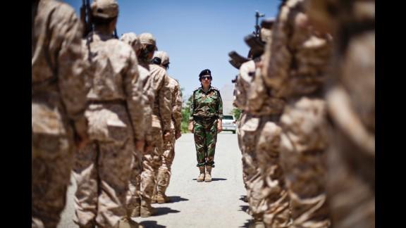 Female Peshmerga at their base.