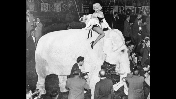 Actress Marilyn Monroe rides on the back of an elephant to mark the opening night of the circus at New York's Madison Square Garden in March 1955.