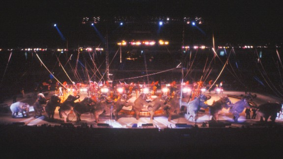 Elephants perform in 1995.