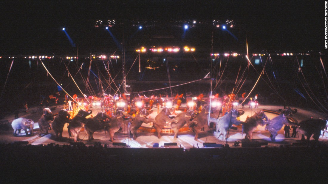 Elephants perform in 1995.