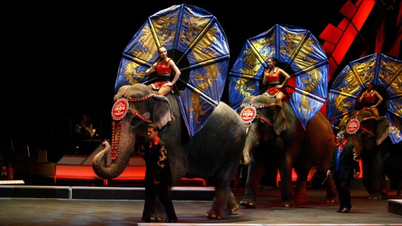 Performers ride elephants during a show in New York in April 2007.
