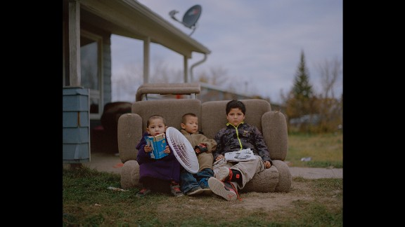 Young boys play together in Fort Belknap Agency, the reservation's capital.