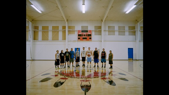 A young basketball team at the Red Whip Gym in Fort Belknap Agency.
