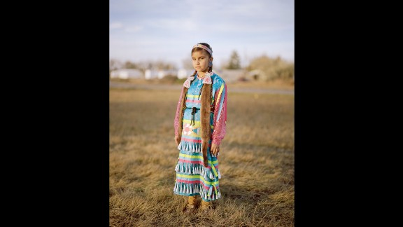 """Mia Jo Wing, a Gros Ventre tribe member, during the Veterans Powwow. She was awarded """"Miss Fort Belknap"""" twice already."""