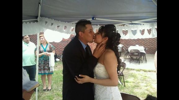 Marta Angelica Romero, shown here at her wedding, says she