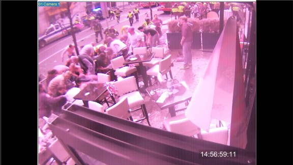 This image is from a surveillance camera outside the Forum restaurant in Boston
