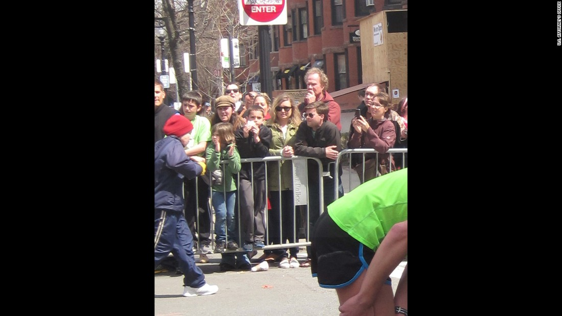 A closer view of 8-year-old Martin Richard in the crowd before the bombing.
