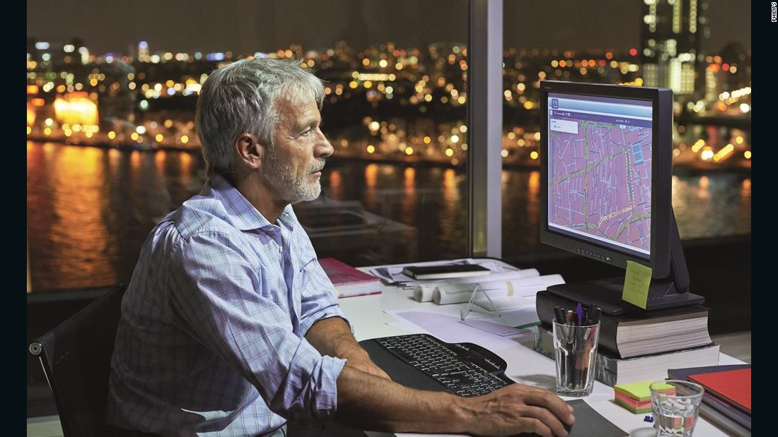 IntelligentCity is a connected lighting solution designed by Philips. The system allows for complete control of a city's lights, with remote users able to adjust the ambiance and monitor energy usage.