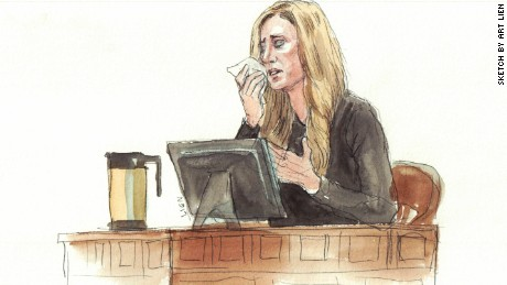 Rebekah Gregory, who lost her leg in the bombing, testifies in court.