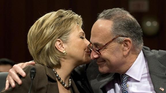 US Senator Chuck Schumer D-NY hugs Hillary Clinton, January 13, 2009