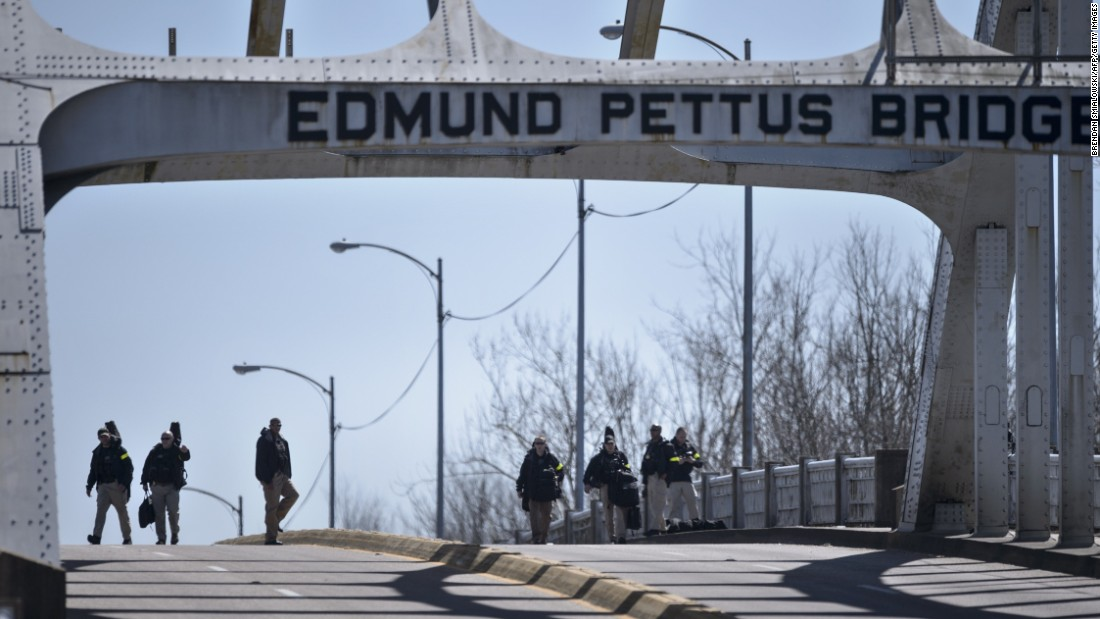 U.S. Secret Service snipers inspect the Edmund Pettus Bridge.
