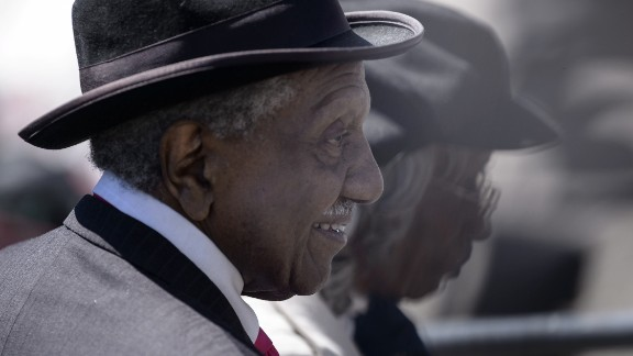 The Rev. Frederick Reese, a civil rights activist and voting rights marcher, arrives at the ceremonies in Selma, Alabama.