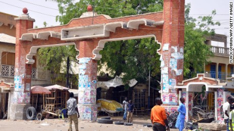 The main gate to the Monday Market is closed after a blast in Maiduguri.
