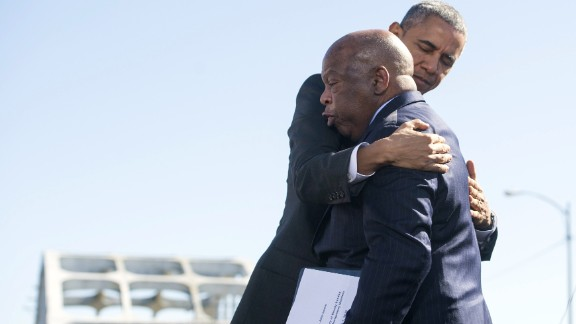 President Obama hugs U.S. Rep. John Lewis, one of the original marchers at Selma 50 years ago.