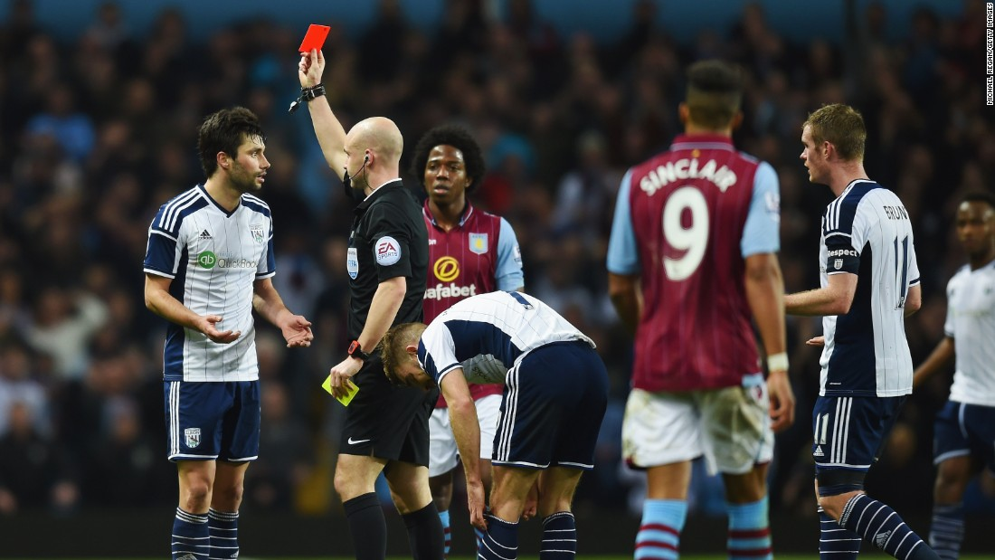 Two players were sent off in the closely-fought match between the Premier League sides: Argentine midfielder Claudio Yacob for West Brom and then Villa's teenage striker Jack Grealish.