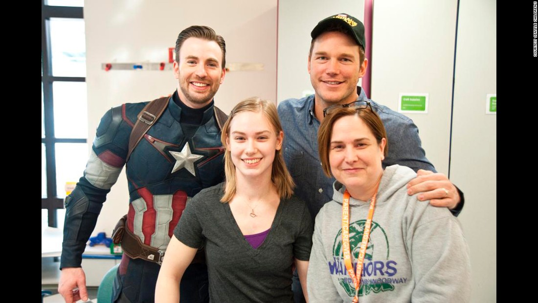 "The Patriots won, but the two actors visited both hospitals anyway -- Pratt dressed as ""Guardians of the Galaxy"" character Star-Lord and Evans dressed as Captain America for Saturday's visit."