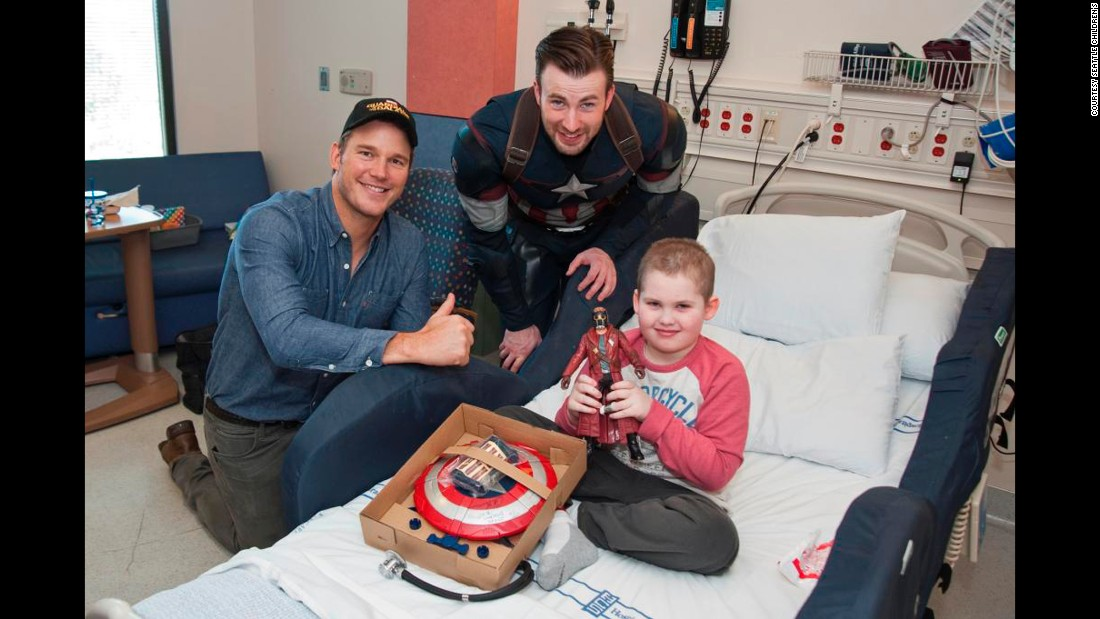 """Meeting them was a nice reprieve for us,"" the mother of patient Oskar Beechum said. ""So many of our visitors are doctors, and the conversations are medical. I can't wait to watch the Captain America movie with Oskar. It will be like he knows him personally now."""