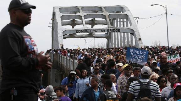 """Thousands of people marked the 50th anniversary of """"Bloody Sunday"""" in Selma, Alabama. President Obama made a rousing speech on racial progress in a diverse country. """"Our march is not yet finished. But we are getting closer,"""" he said. The violent confrontation with police and state troops on the Edmund Pettus Bridge on March 7, 1965, marked a pivotal point in the Civil Rights Movement."""