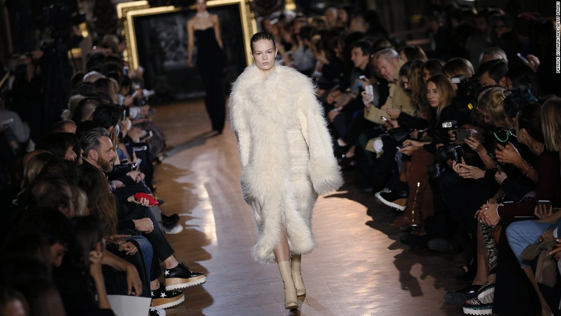 Stella McCartney's cruelty-free mandate didn't stop her from showing this luxe faux fur coat.