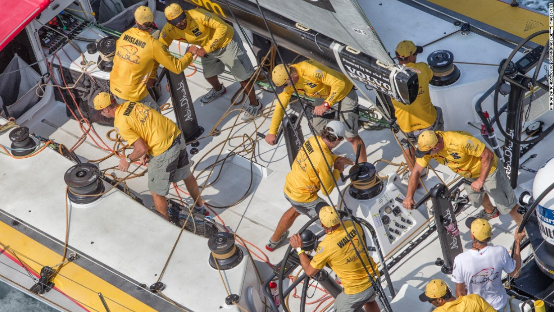 Team Vestas work their magic on deck, during Leg 4 between New Zealand and China.