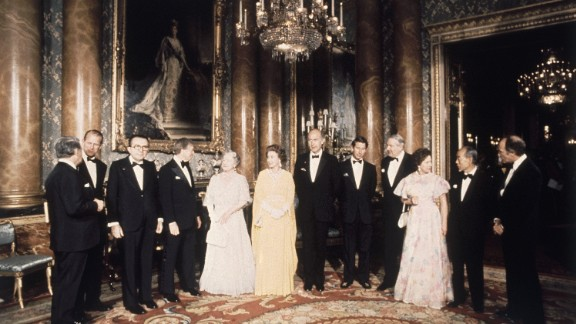 Prince Charles, fifth from right, and members of the royal family meet with President Jimmy Carter, fourth from left, and other world leaders in 1977.
