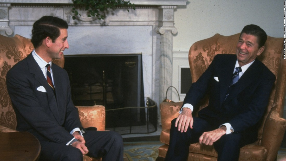 Prince Charles sits with President Ronald Reagan in the Oval Office in 1981.