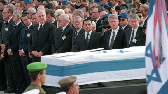 Prince Charles and other world leaders, including President Bill Clinton, attend the funeral of Israeli Prime Minister Yitzhak Rabin in Jerusalem in 1995.