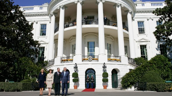 Prince Charles and his wife, Camilla, visit President George W. Bush and first lady Laura Bush in 2005. This was Camilla