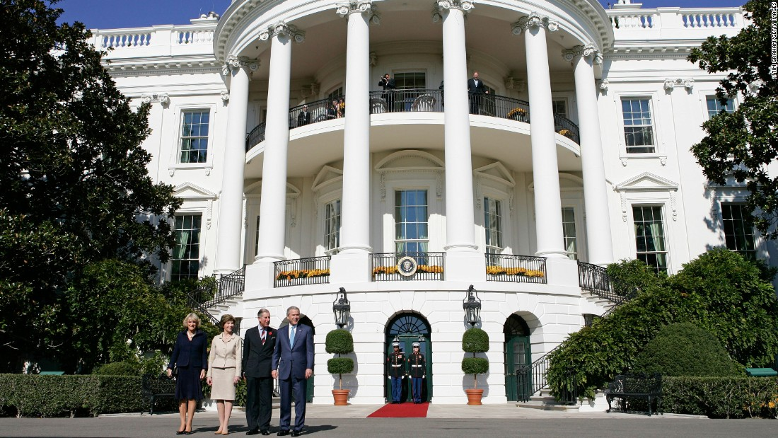 Prince Charles and his wife, Camilla, visit President George W. Bush and first lady Laura Bush in 2005. This was Camilla's first official visit to the United States as the Duchess of Cornwall.