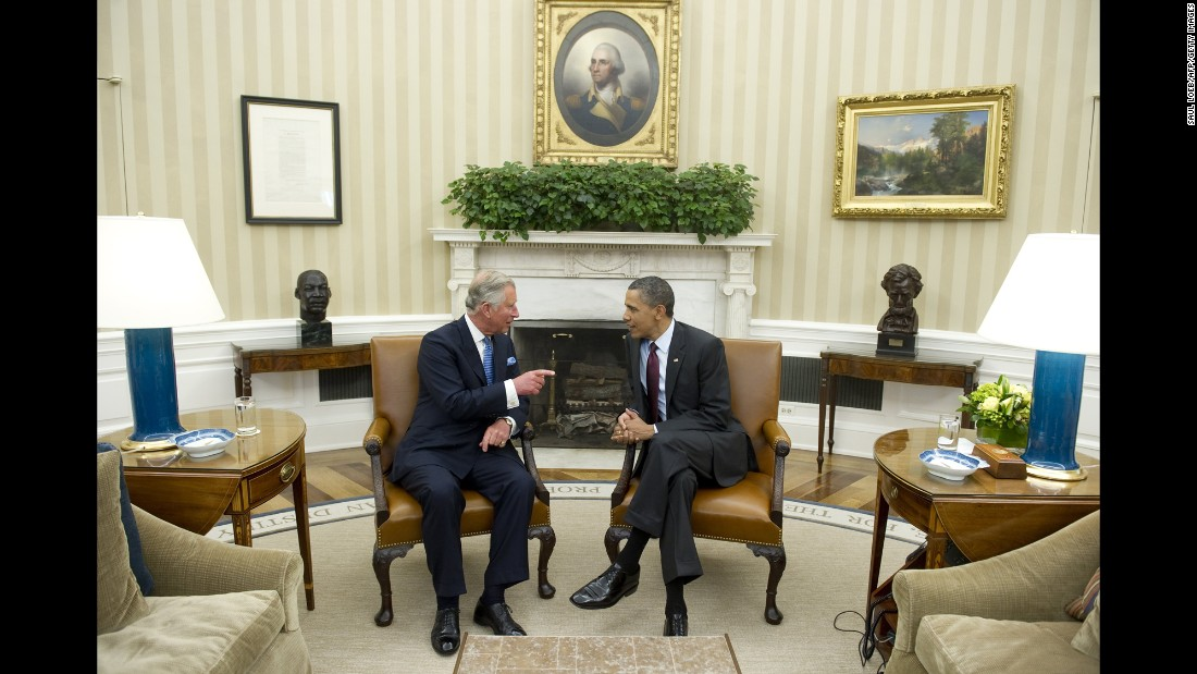 Prince Charles speaks with President Barack Obama in the Oval Office in 2011. Charles and Camilla will meet with Obama again on their upcoming visit to the United States.