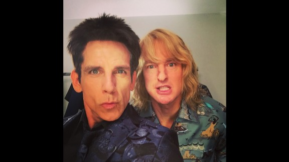 """Apparently Derek and Hansel have come to terms on #Zoolander2,"" wrote actor Ben Stiller, left, in character with fellow ""Zoolander"" star Owen Wilson on Tuesday, March 10. The two made a surprise appearance at Paris Fashion Week, dressed as the male models they played in the popular 2001 movie."